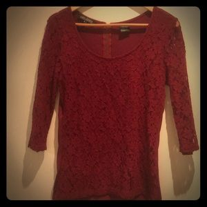 Burgundy Lace Top/Blouse
